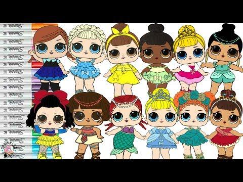 LOL Surprise Dolls Repainted As Disney Princesses Coloring Book Compilation Ariel Tiana Belle Merida