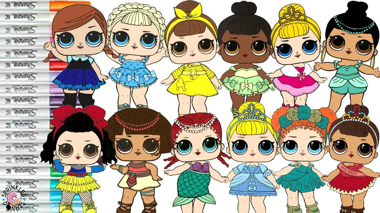Lol Surprise Dolls Repainted As Disney Princesses Coloring