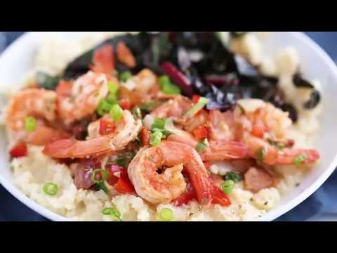 Cauliflower Grits with Spicy Shrimp