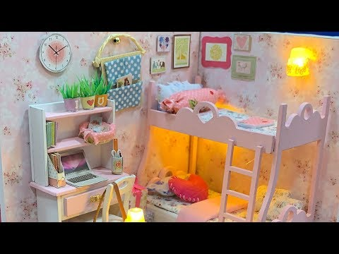 DIY Miniature Dollhouse Room Kit Bedroom - Bunk Bed Bedroom