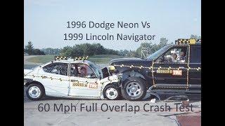 1996 Dodge Neon Vs. 1999 Lincoln Navigator NHTSA Full Overlap Frontal Crash Test (60 Mph Combined)