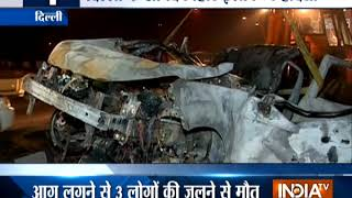 Cars catch fire after crash in Delhi