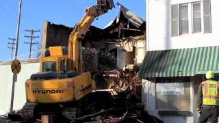 demolition of a portion of the former sunrise bakery in hibbing mn