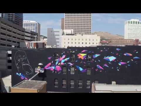 Pan of Vexta Mural in progress in Downtown Salt Lake City