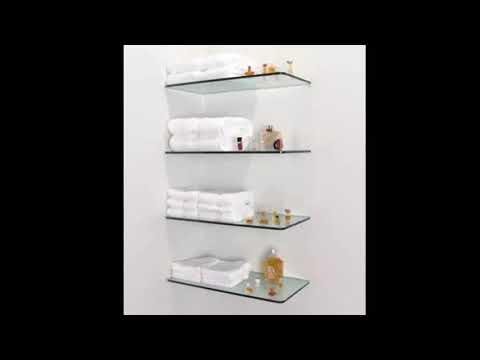 Glass Shelf - Glass Shelf With Rail For Bathroom | Modern Wooden ...