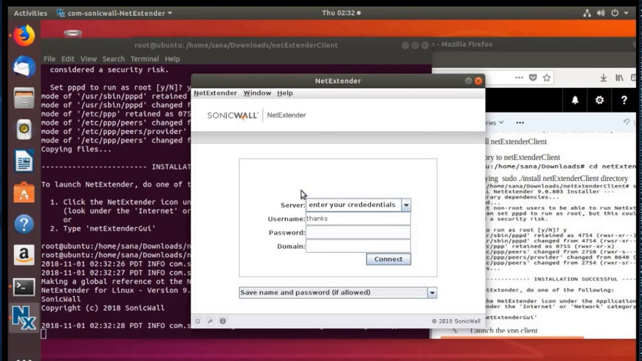 How to install Sonic wall VPNClient NetExtenderGUI on Ubuntu Linux 18 04