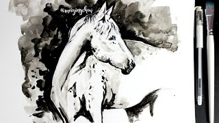 watercolour horse time-lapse || speed art
