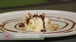 Gelato alla crema con tropea caramellata all'aceto balsamico