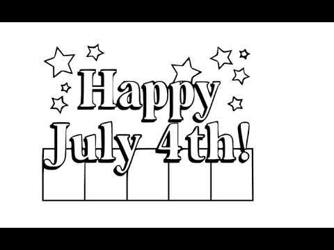 How to draw Happy Independence day 4th July drawing step