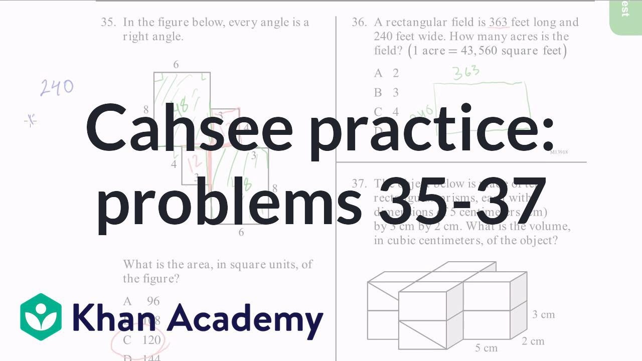Cahsee practice problems 35 37 video khan academy