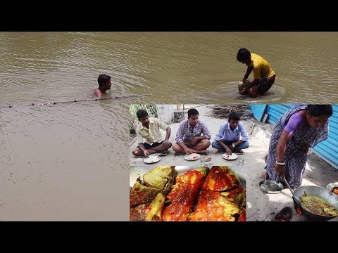 Delicious Big Size Full Fish Masala  Fry / Hot Fish Fry With Rice Bengali recipe / Village Fishing.