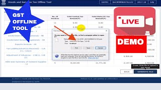GST offline tool Live demo, how to download & use to upload invoices (bulk invoice) to prepare GSTR1