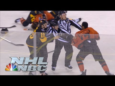 Flyers' Wayne Simmonds lays out Penguins' Brian Dumoulin, brawl ensues | NHL | NBC Sports