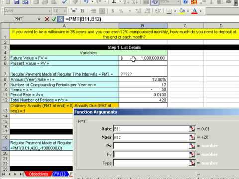 Excel Busn Math 60: Future Value Annuities FV & PMT function