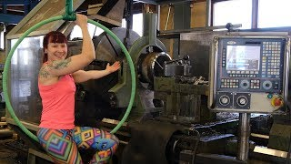 Making Aerial Hoop with Giant Lathe   Feat. Lauri's Dad!