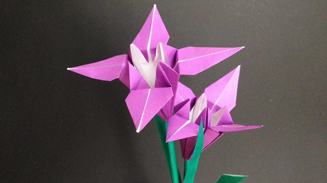 origami iris flower 3d instructions ��� �� ��� ��� youtube