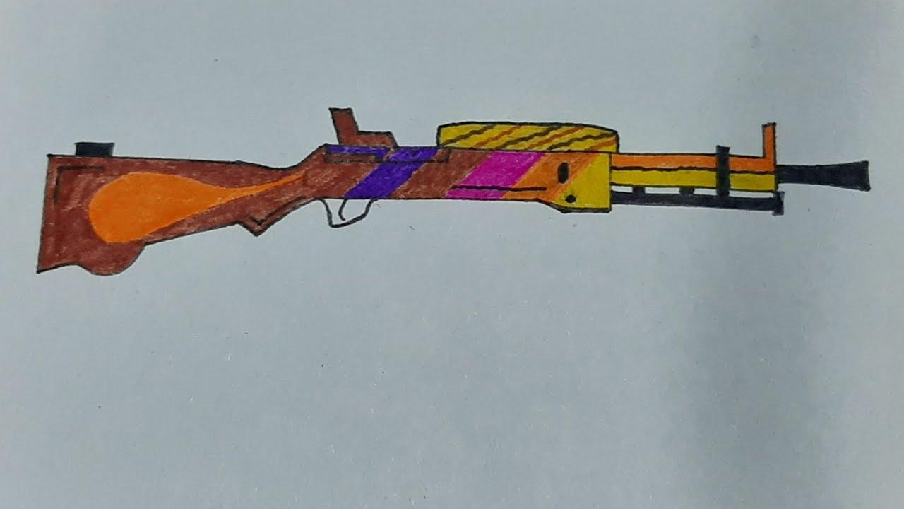 How to draw Dp28 gun from Pubg - Guns drawing - Pubg ...