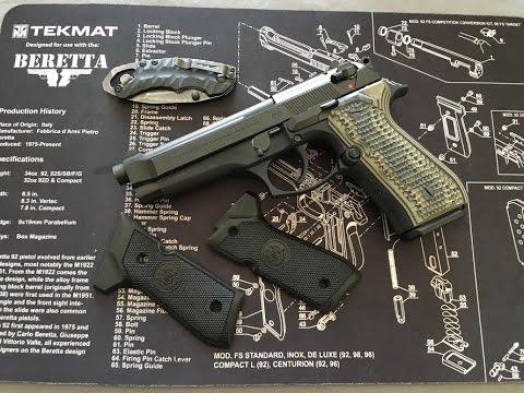 Beretta 92fs 9mm - Hogue Piranha G-10 Grips Install and Review
