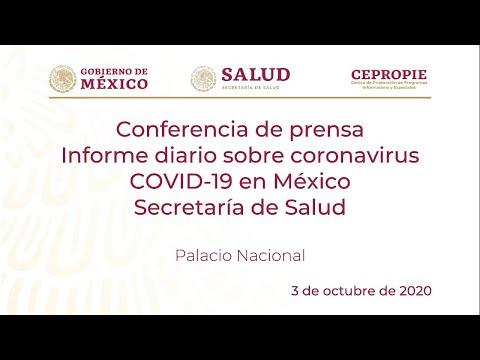 Informe diario sobre coronavirus COVID-19 en México. Secretaría de Salud. Sábado 3 de octubre, 2020