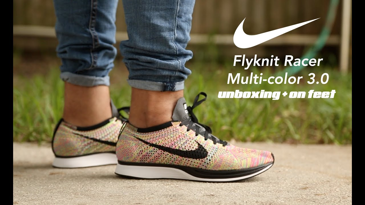 04e9680c8c83 Nike Flyknit Racer Multicolor 3.0 Unboxing + On Feet - YouTube