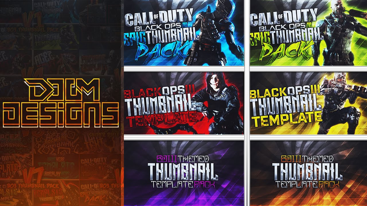 Black Ops 3 Thumbnail Template Pack Premade Photoshop Template Pack Youtube