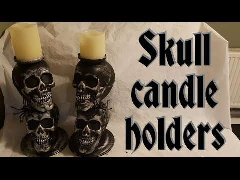 Halloween DIY Skull candle holders