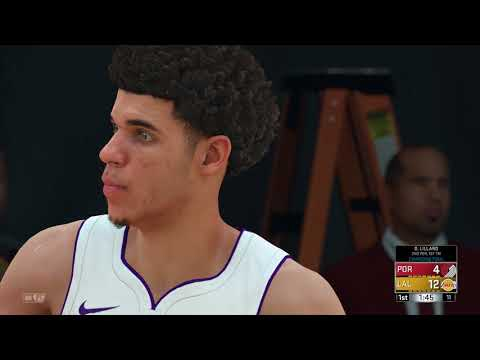 NBA 2K18 Gameplay Los Angeles Lakers vs Portland Trailblazers (Lonzo Ball vs Damian Lillard)