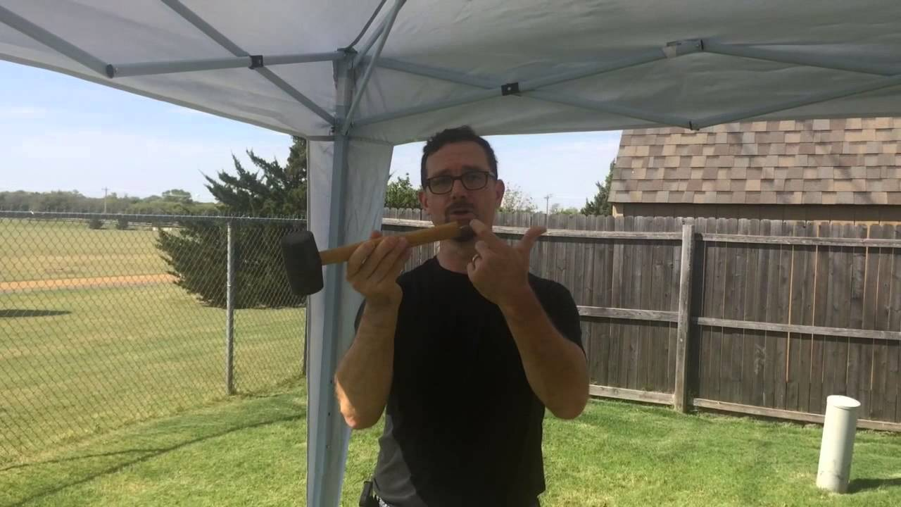 How to set up secure u0026 tear down a 10x10 easy up canopy tent.  sc 1 st  YouTube & How to set up secure u0026 tear down a 10x10 easy up canopy tent ...
