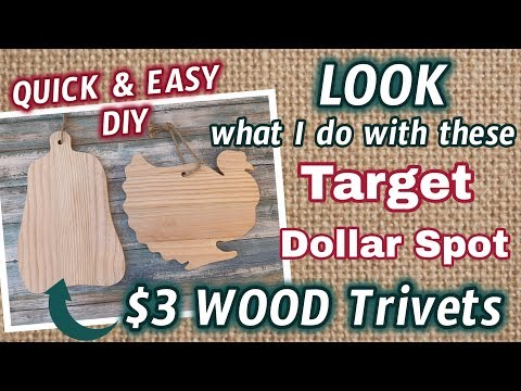 LOOK what I do with these Target DOLLAR SPOT $3 WOOD TRIVETS | QUICK & EASY DIY