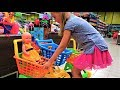 Funny Baby with Baby Doll doing shopping in the Supermarket Songs for kids