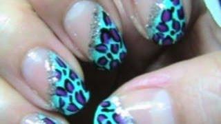 Teal and Purple cheetah nail design