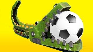 AnimaCars - THE CROCODILE scores an impressive FOOTBALL GOAL - kids cartoons with trucks & animals