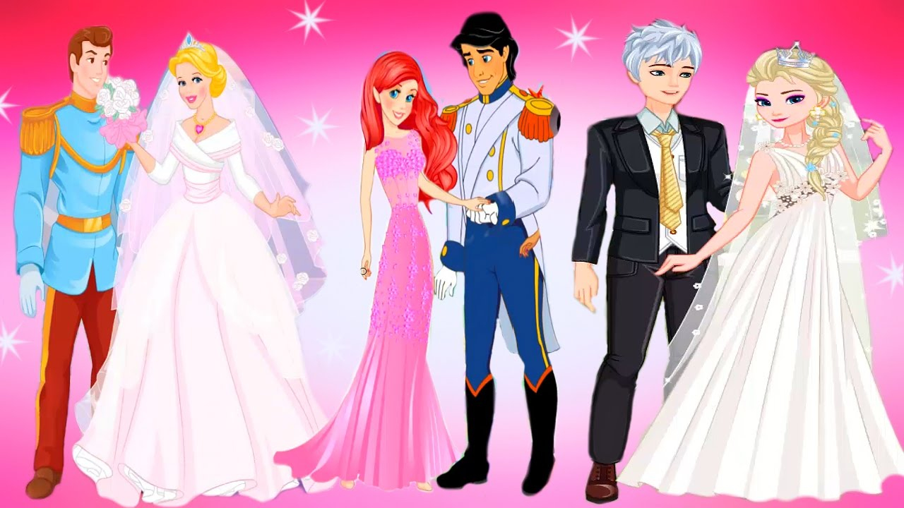 Disney princesses elsa ariel and cinderella wedding day for Disney princess wedding dress up games