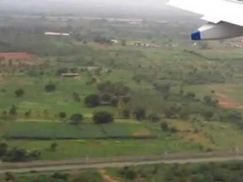Flight landing at Shamshabad airport.3gp