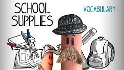School supplies vocabulary in English, learn English