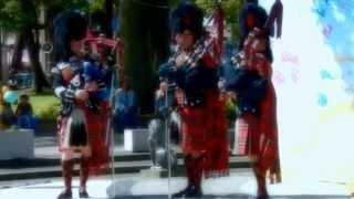 英国女王陛下の近衛軍楽隊が横浜公園でバグパイプ演奏 British Army Coldstream Guards