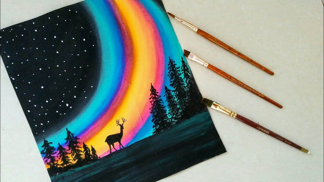 Simple Aurora Forest Galaxy Acrylic Painting Northern