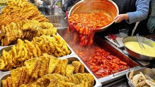 Процесс приготовления корейских популярных токбокки, жареной еды и кимбапа-Корейская уличная еда
