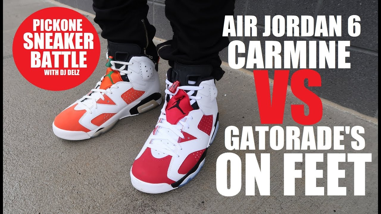b3d6a8a16def73 Air Jordan 6 Carmine VS Gatorade VI Retro Sneaker Battle On Feet  PICKONE  With Dj Delz
