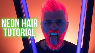 Neon Pink Uv Reactive Hair Color Tutorial With Arctic Fox Hair Color  Kristenleannestyle