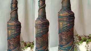 Bottle Decoration Idea / Antique Bottle /Altered Bottle / Wine Bottle Art