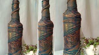 Bottle Decoration Idea / Antique Bottle /Altered Bottle / Wine Bottle Art
