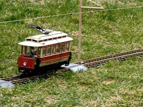Bachmann G Scale Trolley Operating On Overhead Catenary