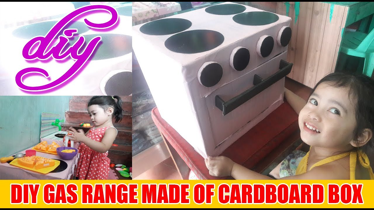 DIY Gas Range Toy for Kids  Made Out of Cardboard Box