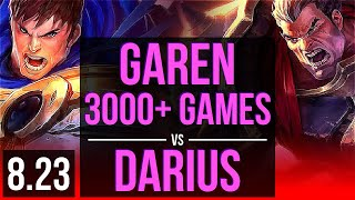 GAREN vs DARIUS (TOP) | 3000+ games, KDA 8/1/0 | NA Diamond | v8.23