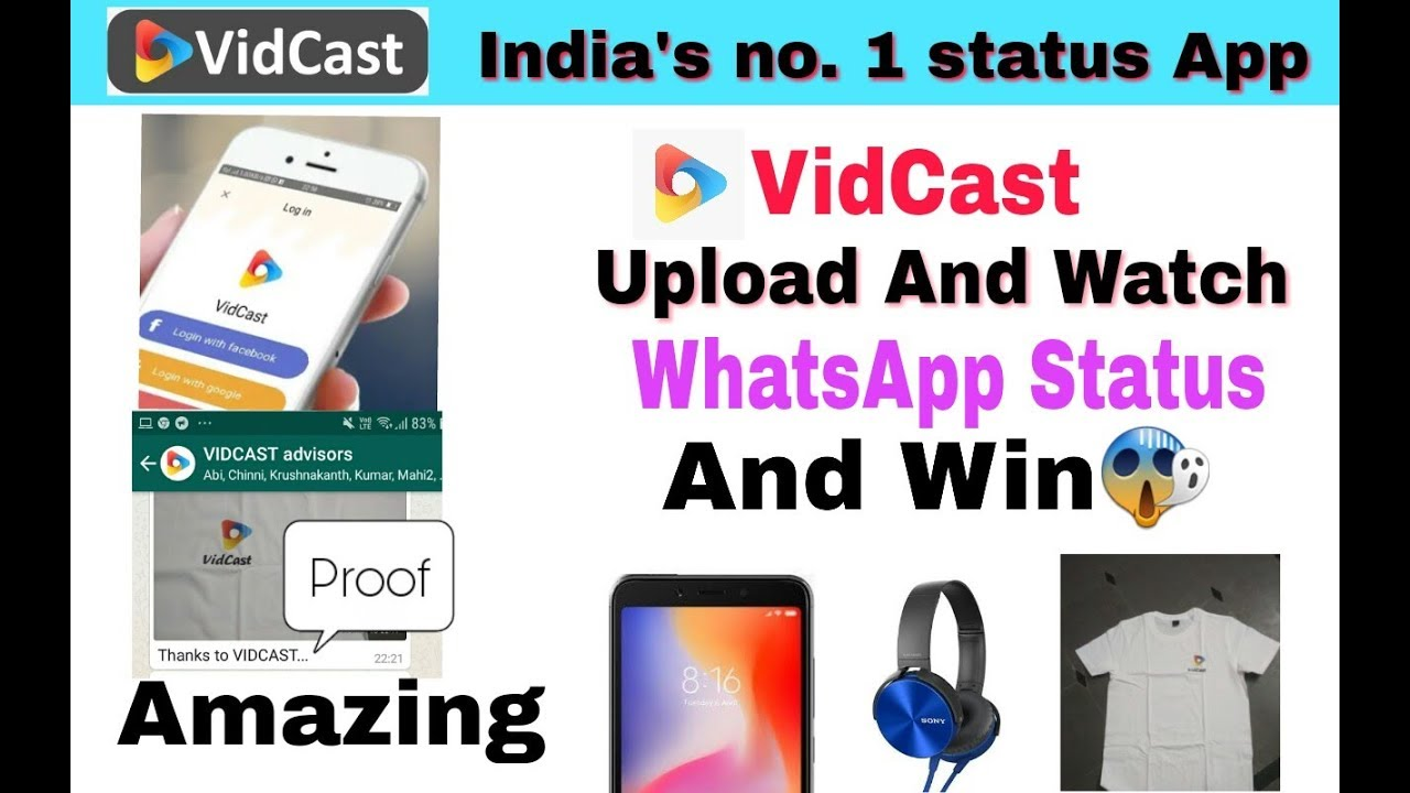 VidCast India's No1 whatsapp Status Videos||Earn Money And Prizes VidCast  App 2018