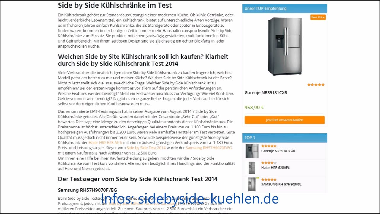 side by side k hlschrank testsieger 2014 youtube. Black Bedroom Furniture Sets. Home Design Ideas