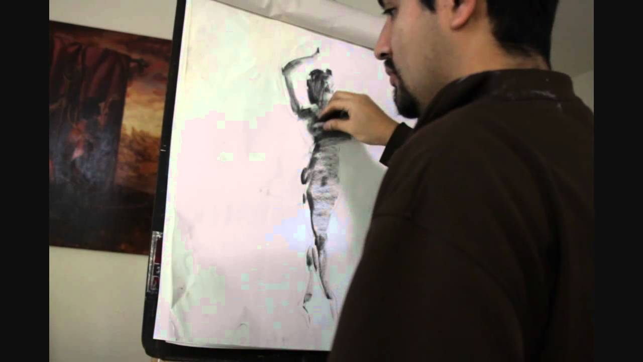5 minute drawing demo vine charcoal