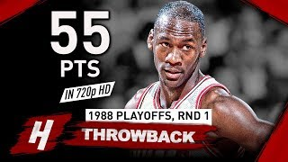 Young Michael Jordan EPIC Game 2 Full Highlights vs Cavaliers 1988 Playoffs - 55 Points! HD