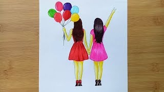Friendship Day Drawing Step by step / Best friends drawing with colouring